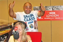 Milo at Radio London with Jo Good on                            Saturday 29th September 2007. Spreading the                            Salsa Class Vibe to London!